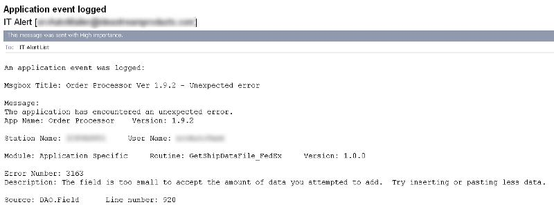 Example of error e-mail