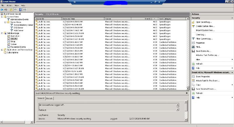 event viewer sorted by event-id asc