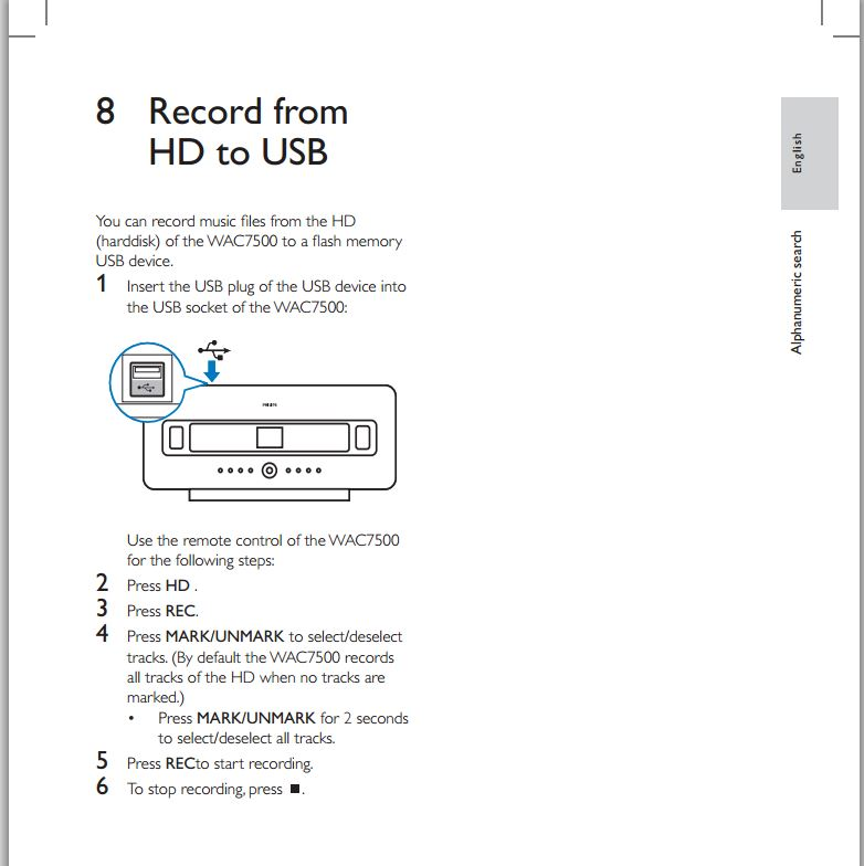 record from HD to USB