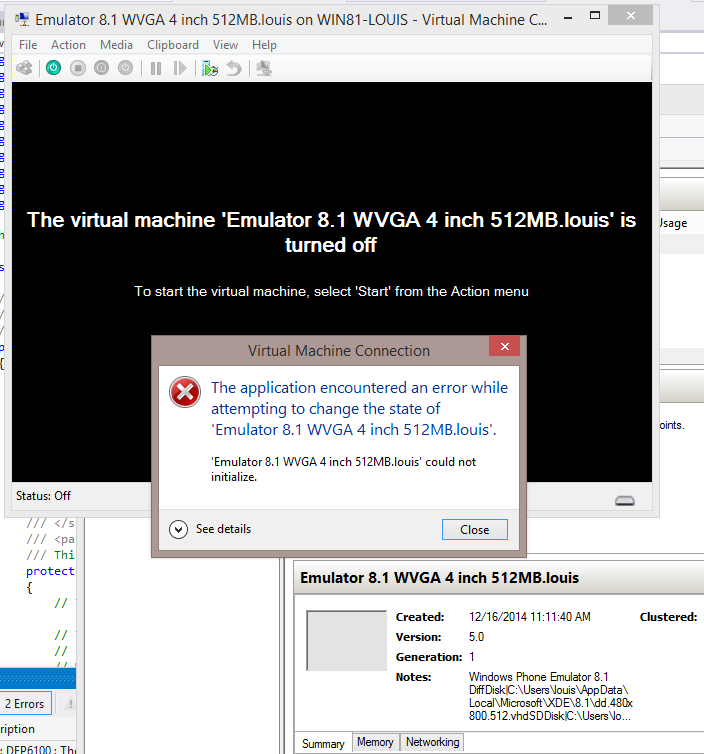 Error when in Hyper-v manager