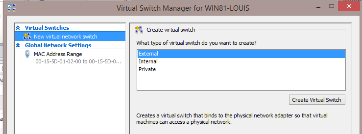 shows no switched installed after install of hyper-v.