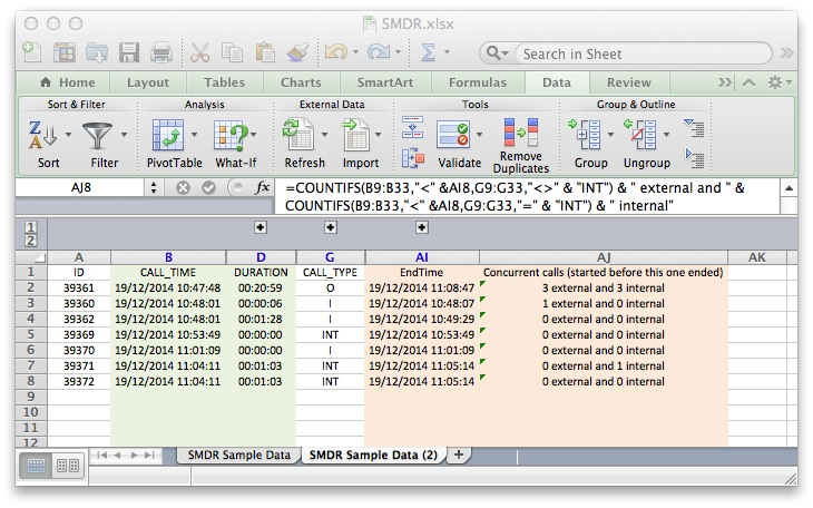 Excel analysis of SMDR file, showing number of external and internal concurrent calls.