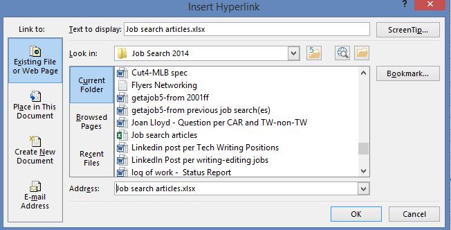 Excel - Insert Hyperlink Dialog Box