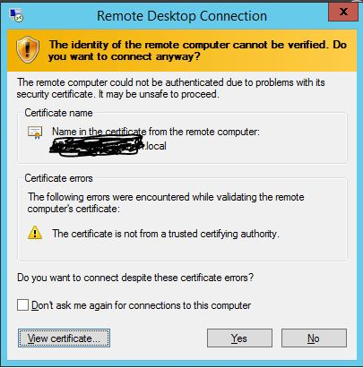 When no Certs are installed - Untrusted Certificate warning