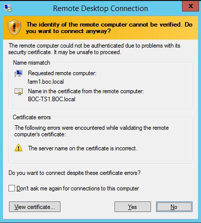 Installed each TS server cert to the trusted root via GPO - new error