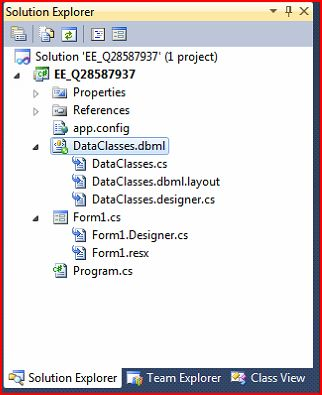 My data context object is DataClasses.dbml.