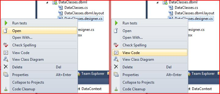 I right-click on the DataClasses.designer.cs file and choose 'Open' or 'View Code'.