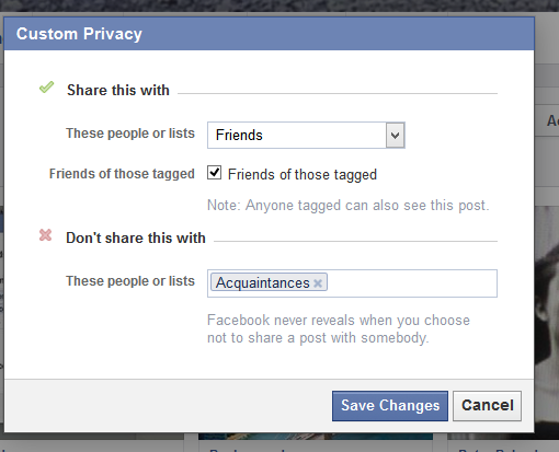 Custom Privacy Options