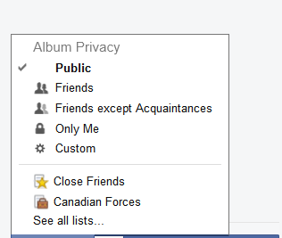 Album Privacy Options