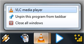 taskbar VLC