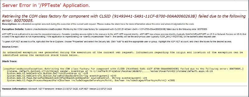 Web page error