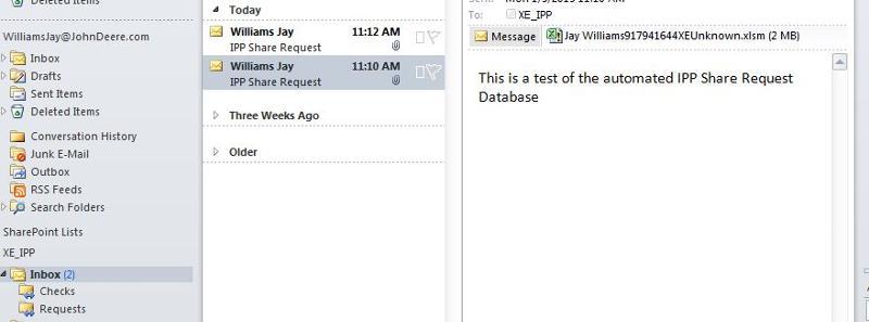 My Outlook view of XE_IPP Inbox