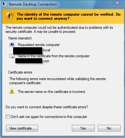Screenshot of the certificate mismatch notification
