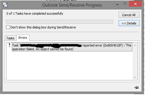 Outlook 2010 Download Address Book Error
