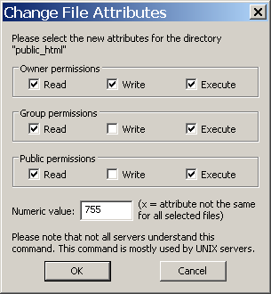 FileZilla - directory/file permissions dialog