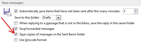 Outlook 2013 save in Sent Items