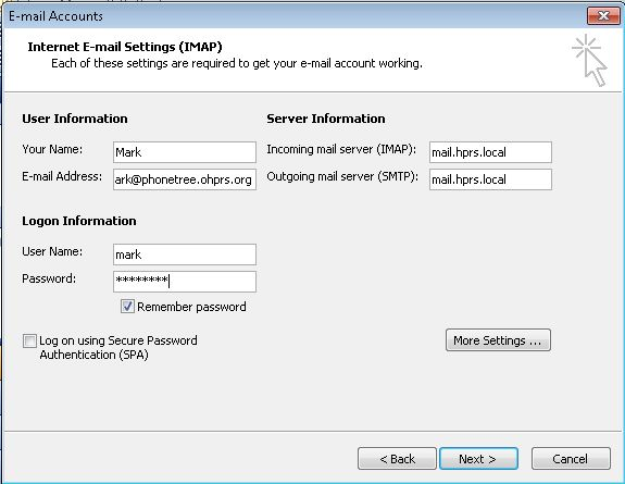 Outlook IMAP configuration