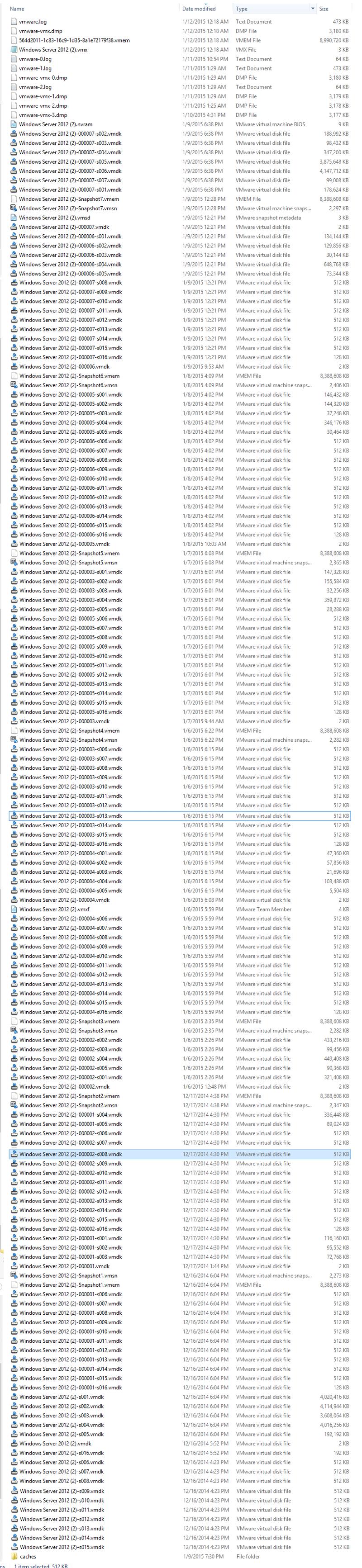 VM Folder Contents