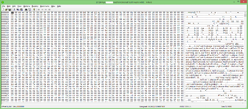 hex editor display of first file