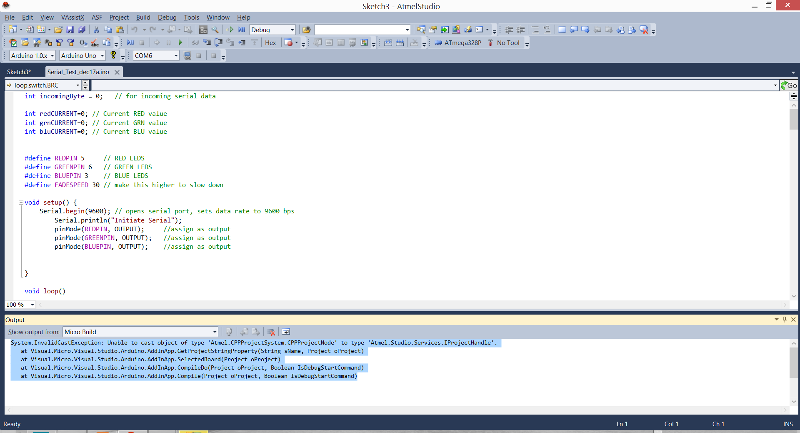 Atmel Studio IDE when attempting to build a sketch.