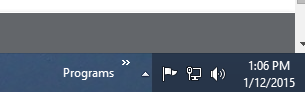 Programs on the right of the taskbar