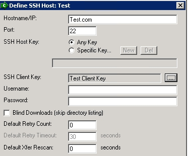 Screenshot of SSH configuration page