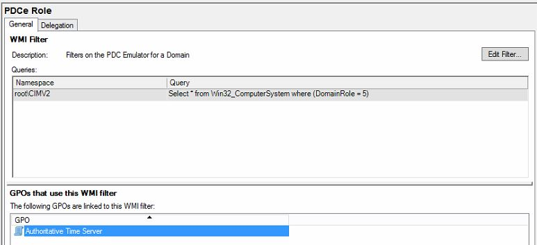 The Authoritative Time Server policy uses a WMI Filter called PDCe Role.