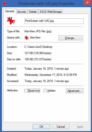 Properties on actual desktop file