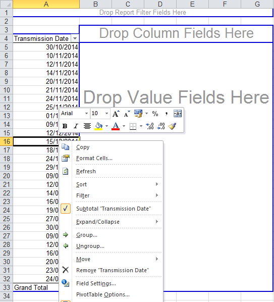 Screenshot showing context menu for pivot table row field - Group By