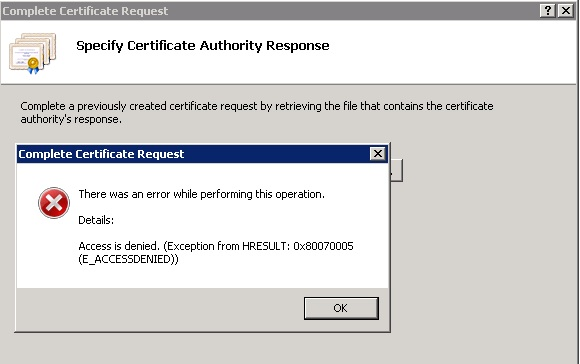 Import SSL certificate in IIS 7.5 access denied error