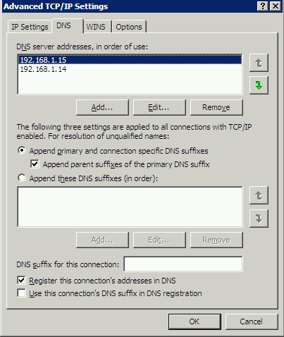DC IP Address Settings
