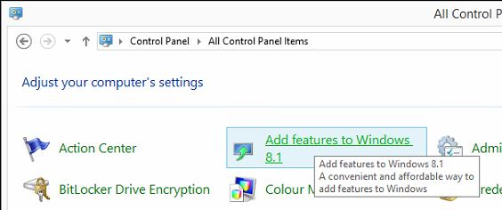 'Add features to Windows 8.1' is used to Upgrade Windows 8.1.