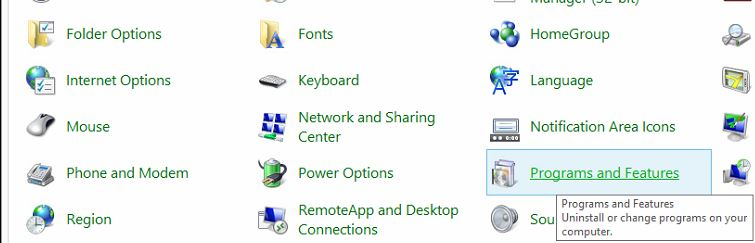 'Programs and Features' is used to add Programs and Features to Windows 8.1.