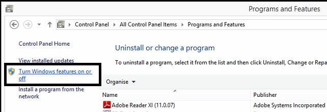 Clicking on 'Turn Windows features on or off' will present the screen to Add/Remove Windows features.