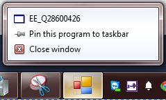 Standard right-click on a taskbar icon in Windows 7.