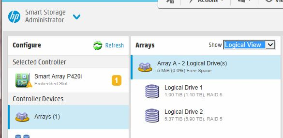 Two logical drives (1 is 1TB, the other is 6TB).