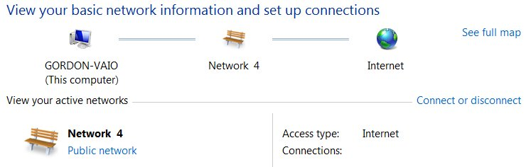 This is what I see in Control Panel. I think that I should see a reference to a Local Connection - not a Public one.