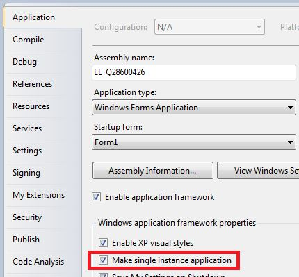 On the Application tab, check the box for 'Make single instance application'.