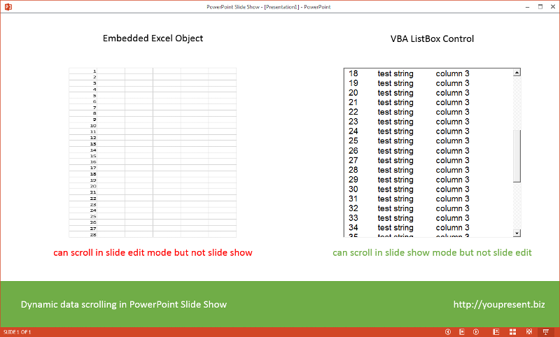 PowerPoint Slide Show with dynamic data scrolling