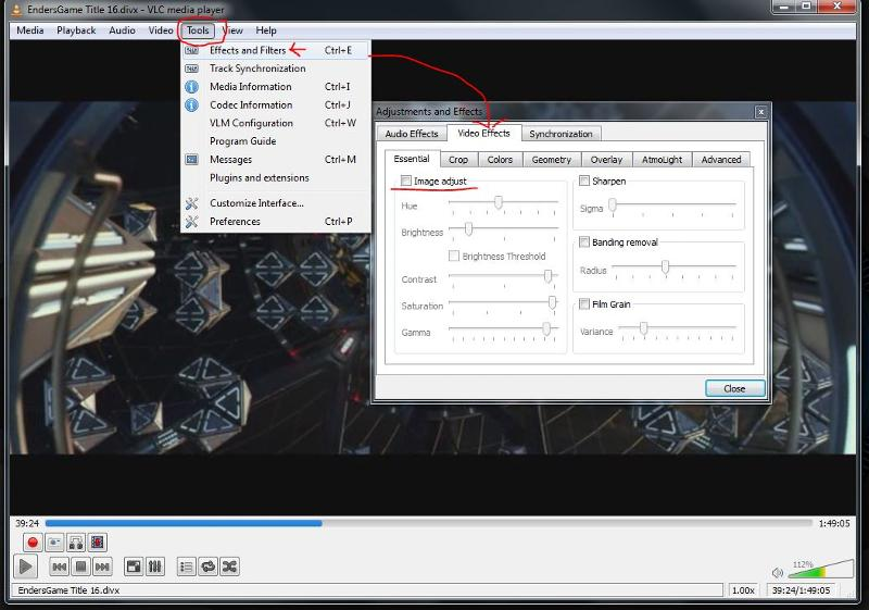 VLC adjust video