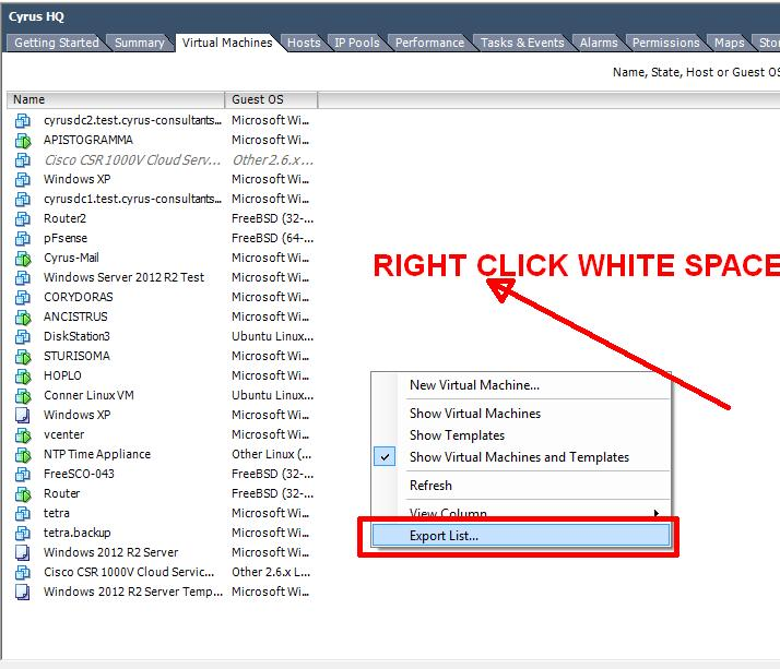 Step 2 - Right Click Whitespace, and select Export (CSV, HTML etc)