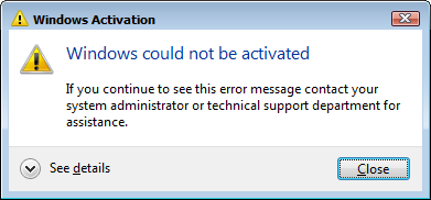 Windows Activation Error Dialog
