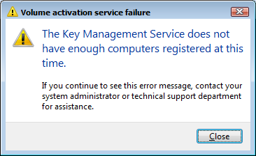 Volume activation service failure