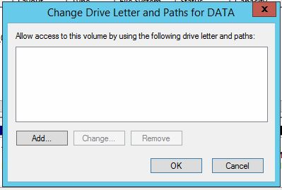 Click 'Add' on the Change Drive Letter and Paths window.