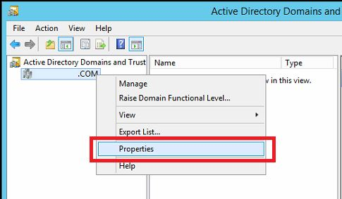 In 'Active Directory Domains and Trusts', right-click on your Domain and choose 'Properties'.