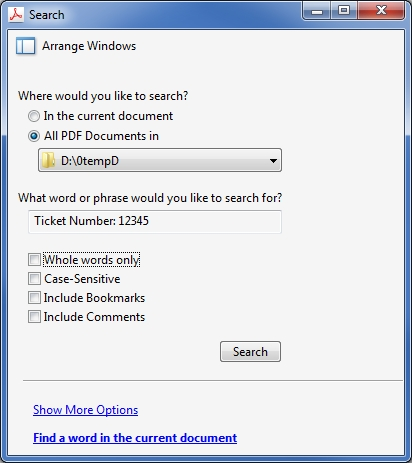 Acrobat Advanced Search