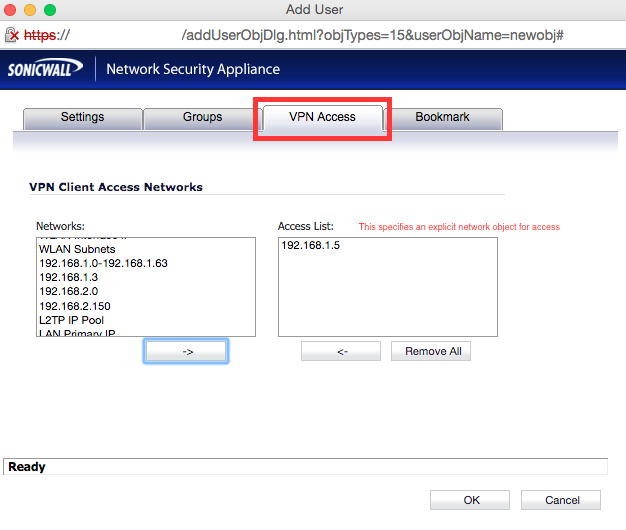 Add user - Network Object Access