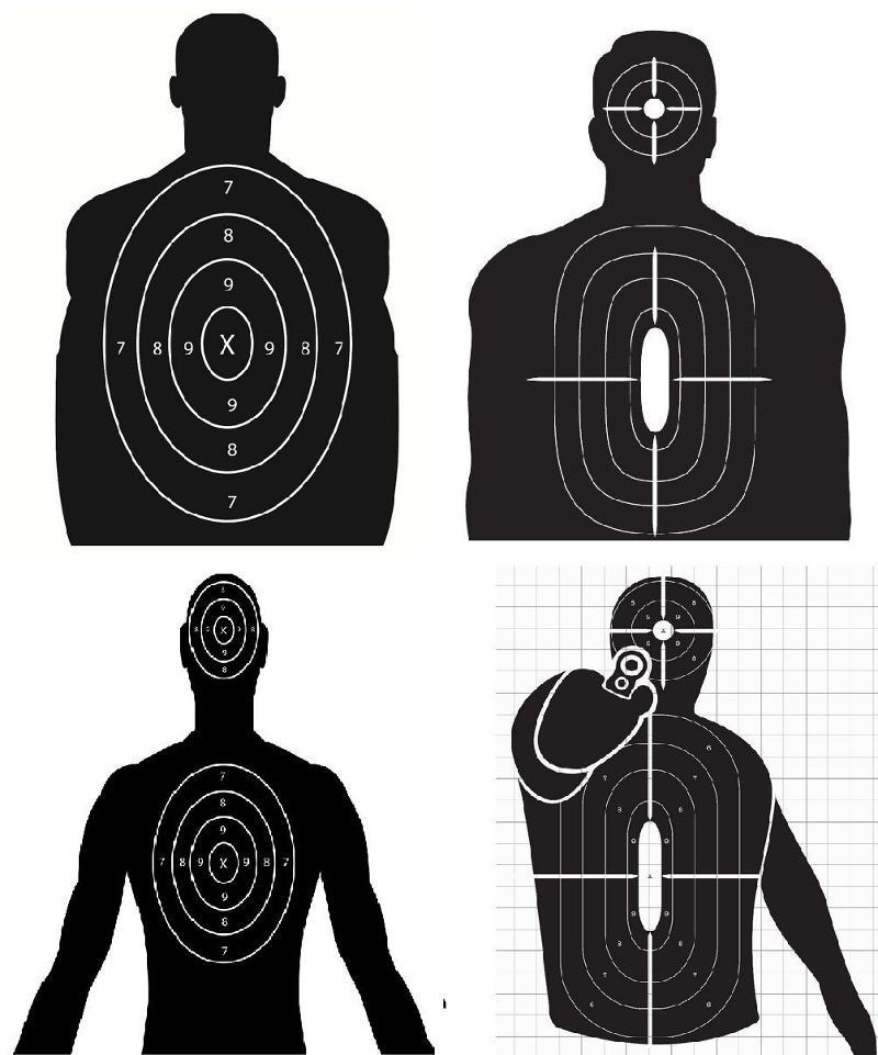 Police Silhouette-Shooting-Targets-Hand-Gun-Pistol-9mm-Target