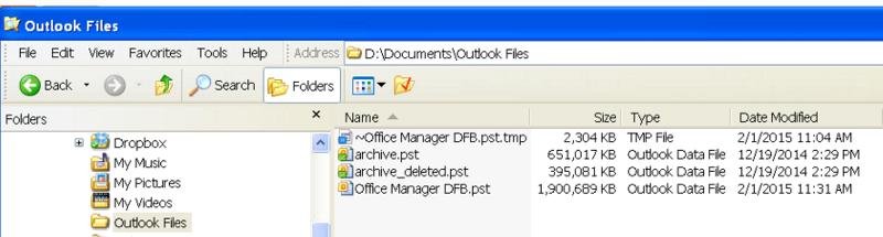 PST file sizes