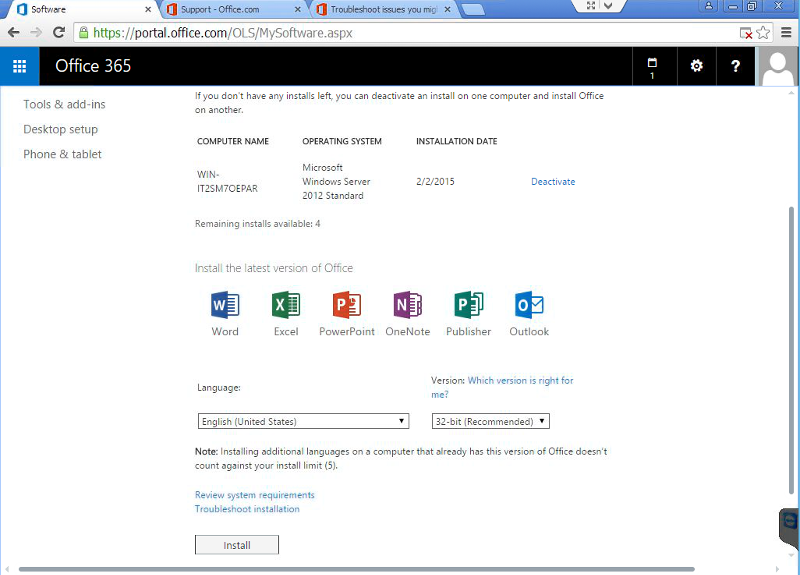 Office365 Portal - Install Office page